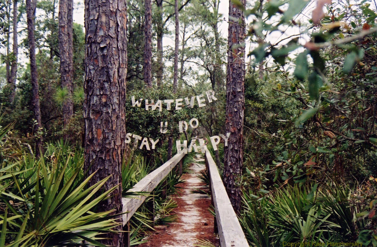 Kate Hammersley Whatever U Do Stay Happy text installation