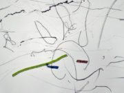 Kate Hammersley Flows (detail) helium drawing with electrical tape